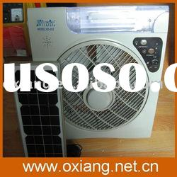 solar powered portable fan with 10w solar panel and emergency light