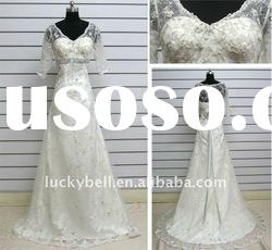 2012 Wholesale Real picture Lace Short Sleeve Wedding dress