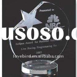 3D laser crystal basketball award with letters