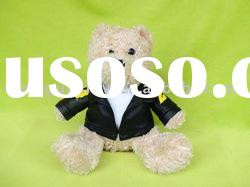 "7""Stuffed plush teddy bear toys with leather jacket"
