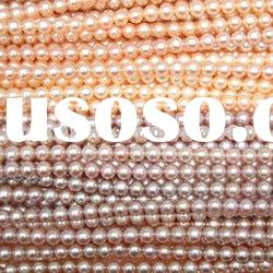 AAA beautiful pink,violet 7-7.5mm freshwater round pearl strand