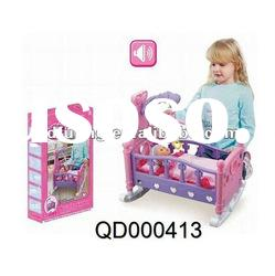 Baby Toy Vinyl Doll & Baby Bed with music, fashion doll