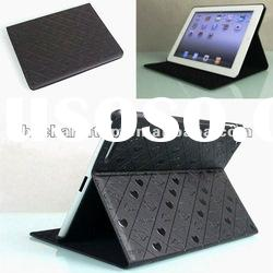 Black Folio Stand Leather Case for iPad 2