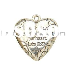 CCB silver plated heart shape pendant