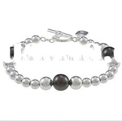 Costume jewelry/Fancy fashion silver and black pearl lady's unique bracelet DH220568