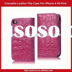 Crocodile Leather Flip Case For iPhone 4S 4-Red
