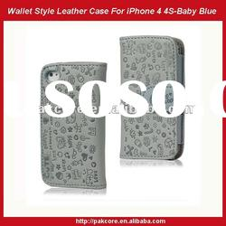 Cute Fairy Wallet Flip Leather Case For iPhone 4 4S-Baby Blue
