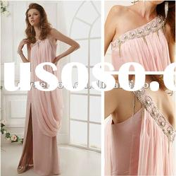Delightful A-line One Shoulder Pink Chiffon Beaded Designer Evening Dress