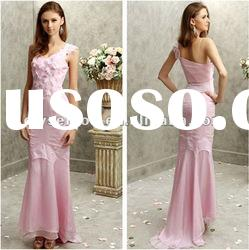 Delightful Sheath V-neck Sleeveless Pink Chiffon Prom Dress Long
