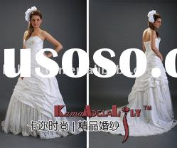EB266 exquisite ruffle and beading A-line party dinner dress ball gown wedding dress bridal dress