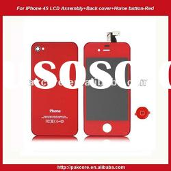 For iPhone 4S LCD assembly+Back cover+Home button kit-Red