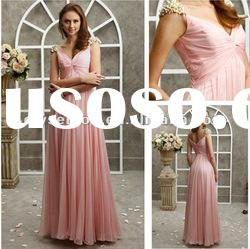 Fresh Looking V-neck Pink Chiffon Crystals Bridal Evening Dresses