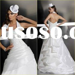 GR0015 Popular Custom Made Halter Ruffle Falbala Wedding Dress