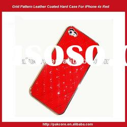 Grid Pattern Leather Coated Hard Case For iPhone 4 4S-White