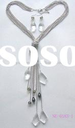 Newest fashion costume long silver plated chain glass crystal teardrop pendant neckalce set