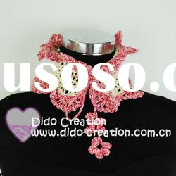 S06A006A Handmade Crochet Fashion Spring Flower Scarf Shawl 100% Cotton