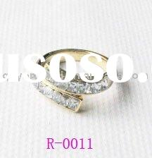 Unique design gold plated fashion crystal gemstone rings