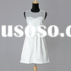 beaded ladies dress 2012 new fashion sleevless white and black