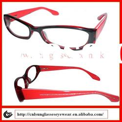 black fashion handmade designer acetate eyeglasses with red temple