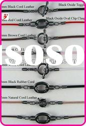 fashion black leather cord necklace(A400146)