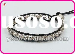 fashion crystal bead leather bracelet(B101220)