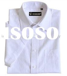 men's white 100% cotton short sleeve casual shirt