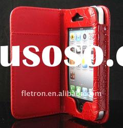Wallet Croco Skin Leather Case with Card Holder For iPhone 4 4G 4S