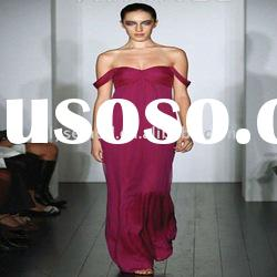 2011 Newly Arriving Plum Chiffon Floor Length Off-Shoulder Bridesmaid Gown