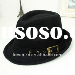 2011 hot new fashion winter jazz, cowboy hat design pure ladies' wool cap with OEM