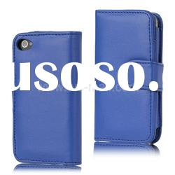 2012 New Cell Phone Wallet Flip Leather Case for iPhone 4S(PHONE4S-244B)