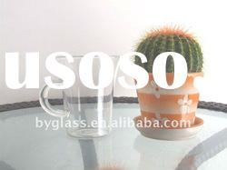 300ml clear high quality glass cup with handle