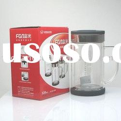 320ML FB1004-320B Double-layer office glass cup with cap