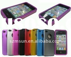 Aluminum Case for iphone 4 Back Hard Case with Soft Silicone Rim