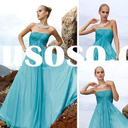 Coniefox custom made strapless blue evening gown 80101