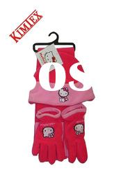 Cute Polar Fleece Hat Scarf and Gloves Set