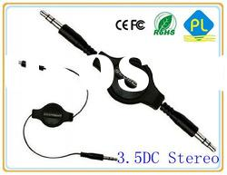 DC3.5 Stereo Male To Male Retractable S-video Cable for Mobile phone