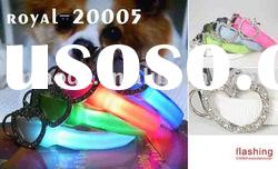 Fashion Flashing LED pet collars and leash with diamond