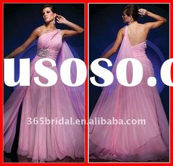 Fashion Pink Sheath/Column One shoulder Beaded Chiffon Evening Dress Prom Dress 2012