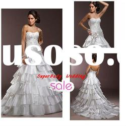 Fashion W-1108 strapless bridal ball gown satin wedding gown