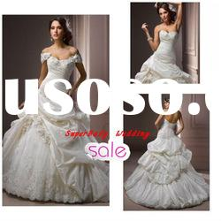 Fashion W-1109 strapless bridal ball gown taffeta wedding gown
