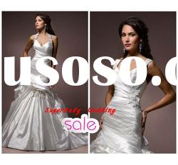 Fashion W-1125 halter handmade flower taffeta bridal wedding dress