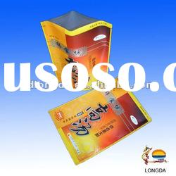 Food supplied laminated plastic stand up pouch with zipper