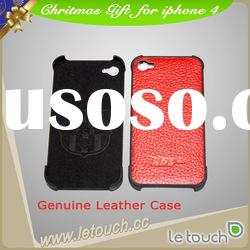 Genuine leather back cover for iphone 4