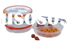 Microwavable 3 grids round food plastic container