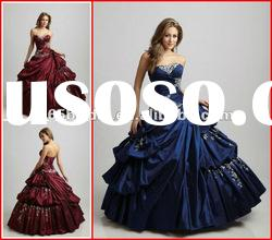 PYN2101 2012 New Ball Gown Strapless Applique Taffeta Glamorous Pleated quinceanera dresses