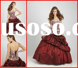 PYN2104 2012 New Pleated Ball Gown Strapless Applique Taffeta Glamorous quinceanera dresses
