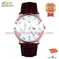 Round case classic business dress watch for men