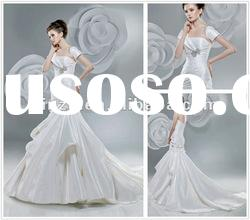 Royal Strapless Pleated Mermaid Taffeta Wedding Dress with Floral Flowers--WD1026