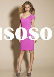 Scoop One-shoulder Short Sleeve Ruched Custom Made Bridesmaid Dresses