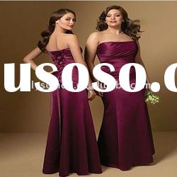 Soft Hot Sale Strapless Satin Long Plum Bridesmaid Dresses
